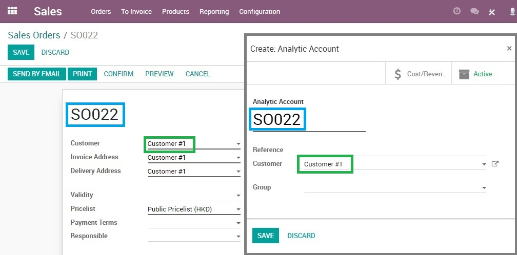 Create analytic account for sales order